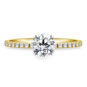 Round Brilliant Diamond Engagement Ring With Diamond Accents In 14K White or Yellow Gold (5/8 Carat Weight)