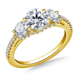 Round Diamond Three Stone Engagement Ring In 14K Yellow or White Gold (2.00 Carat Weight)