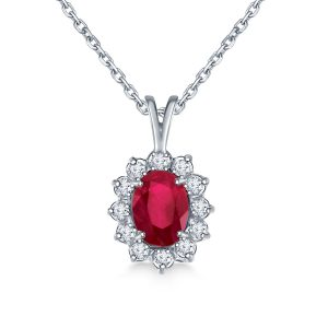 Ruby Oval Pendant Necklace With Starburst Diamond Halo In 14K White Gold (8X6mm)