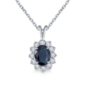 Sapphire Oval Pendant Necklace With Starburst Diamond Halo In 14K White Gold (8X6mm)
