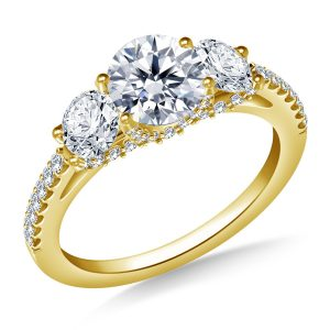 Three Stone Diamond Engagement Ring With Diamond Accents In 14K Yellow or White Gold (2.00 Carat Weight)
