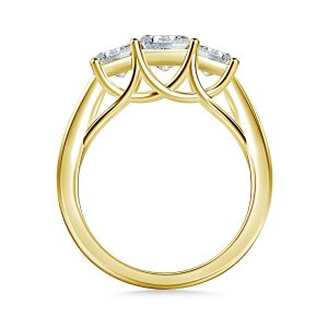 Three Stone Trellis Diamond Engagement Ring In 14K Yellow or White Gold (1.00 Carat Weight)