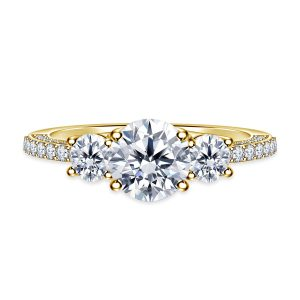 Trellis Three Stone Diamond Engagement Ring In Pave Setting 14K Yellow or White Gold (1 1/2 Carat Weight)