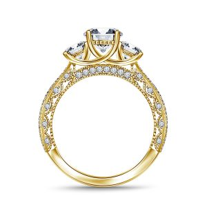 Vintage Inspired Trellis Three Stone Diamond Engagement Ring In 14K Yellow or White Gold (2.00 Carat Weight)