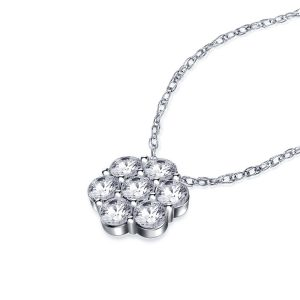 Cluster Diamond Flower Pendant In 14K White Gold (1.00 Carat Weight)