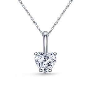 Diamond Heart Pendant Necklace With Prong Set In 14K White Gold (1/4 Carat Weight)
