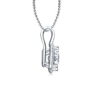 Halo Princess Cut Pendant With Micro Pave Diamonds In 14K White Gold (1/2 Carat Weight)