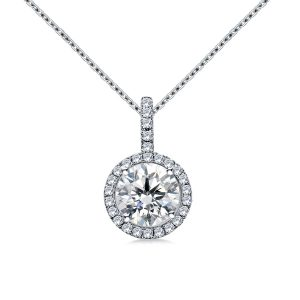 Halo Round Diamond Pendant With Micro Pave In 14K White Gold (1/4 Carat Weight)