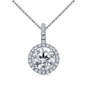 Halo Round Diamond Pendant With Micro Pave In 14K White Gold (1.00 Carat Weight)
