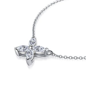 Marquise Cut Diamond Flower Pendant In 14K White Gold (3/4 Carat Weight)