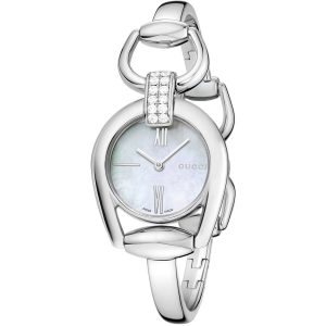 Authentic GUCCI Women's Horsebit Stainless Steel White Mother of Pearl Dial