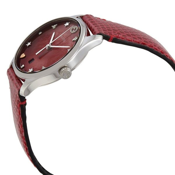 Watch label: Swiss Made. Gucci G-Timeless Red Mother of Pearl Dial Ladies Watch YA126584.
