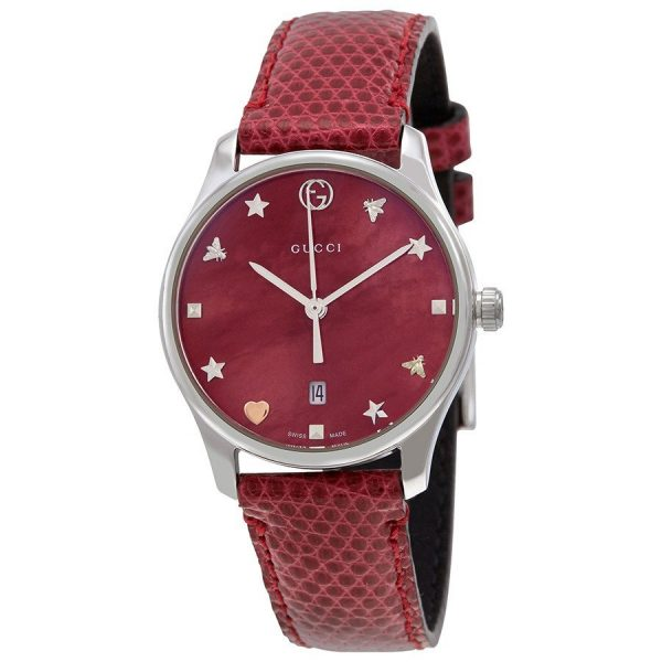 Authentic GUCCI Mod. CHERRY RED - G-Timeless Red Mother of Pearl Dial Ladies Leather Watch