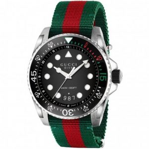 Authentic GUCCI Dive Black Dial Green and Red Nylon Men's Watch