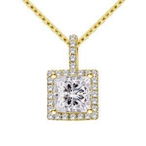Halo Princess Cut Pendant With Micro Pave Diamonds In 14K Yellow Gold