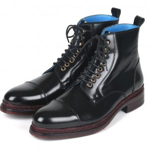 Paul Parkman Polished Leather Boots Black (ID#5075-BLK)
