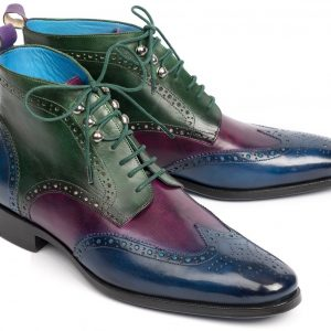 Paul Parkman Wingtip Ankle Boots Three Tone Blue Purple Green (ID#777-BLU-PRP)
