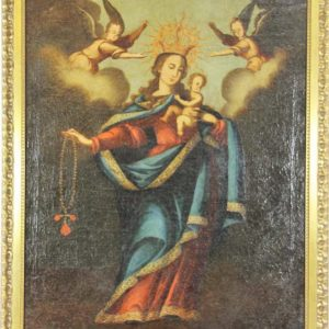 BEAUTIFUL ANTIQUE – VIRGIN WITH CHILD. OIL ON CANVAS. FROM XVII-XVIII CENTURIES. COLONIAL TIMES