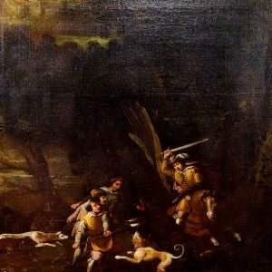 HUNTING SCENE. FROM XVII CENTURY –  OIL ON CANVAS. NETHERLANDS.