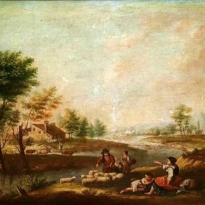 ITALY – LANDSCAPE WITH PEASANTS. FROM XVIII-XIX CENTURIES –  OIL ON CANVAS