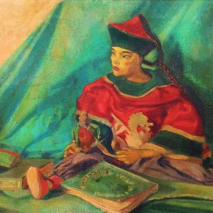 CHINESE MARIONETTE AND BOOKS. OIL ON CANVAS. SIGNED. SPAIN. 1947