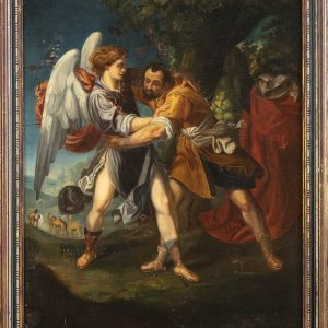 Flemish school. Fight of Jacob with the ANGEL, Flemish school, 17th century, OIL ON CANVAS – Great Painting