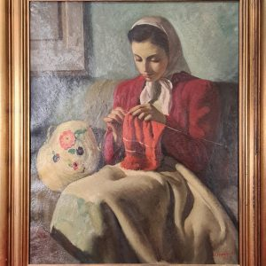 FREDERIC LLOVERAS HERRERA – YOUNG WOMAN WEAVING – SIGNED